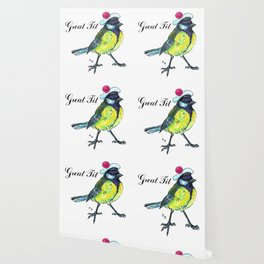Great tit in white beret Wallpaper