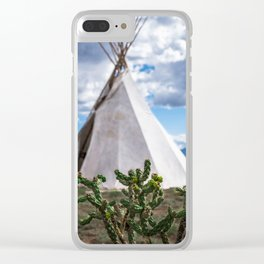 Cactus with Teepee Clear iPhone Case