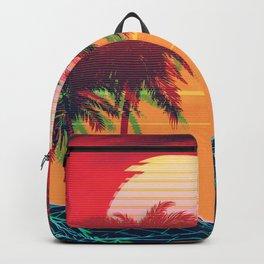Vaporwave landscape with rocks and palms Backpack