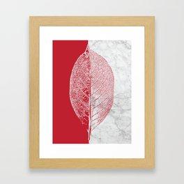 Natural Outlines - Leaf Red & White Marble #930 Framed Art Print