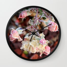 Cluster of Roses covered in Frost Wall Clock