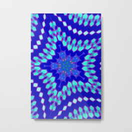 Navy Blue and Mint Abstract Star Geometric Metal Print