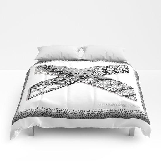 Zentangle X Monogram Alphabet Illustration Comforters