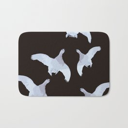 White Willow grouse Birds On A Black Background #decor #buyart #society6 Bath Mat