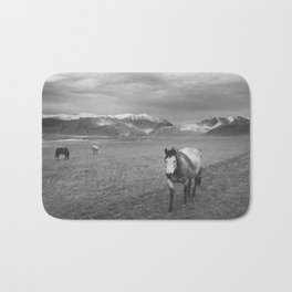 Western Photograph   Rustic Horse and Mountains Bath Mat