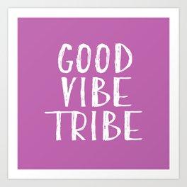 Good Vibe Tribe - Light Purple and White Art Print
