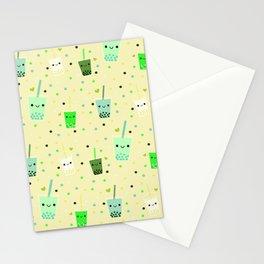 Happy Boba Bubble Tea Yellow Stationery Cards