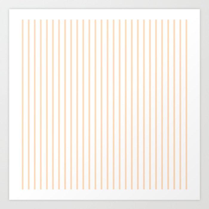 Soft Peach Pinstripe on White Kunstdrucke