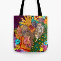 india Tote Bags featuring India by Aubree Eisenwinter