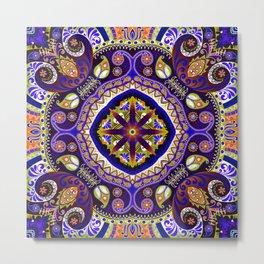 Boho Kaleidoscope Floral Pattern Var. 9 Metal Print