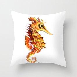 Seahorse, orange yellow cute animals illustration children room nursery sea world art Throw Pillow