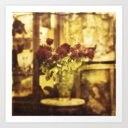 Red roses on the street Art Print