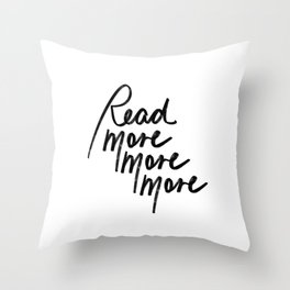 Read More More More | White Throw Pillow