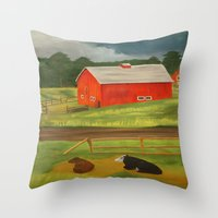 farm Throw Pillows featuring Farm by ArtSchool