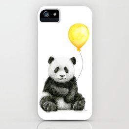 Panda Watercolor Animal with Yellow Balloon Nursery Baby Animals iPhone Case