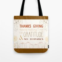 thanksgiving Tote Bags featuring ThanksGiving by joannaciolek