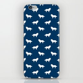 Border Collie navy and white minimal silhouette dog silhouettes dog breeds pattern iPhone Skin