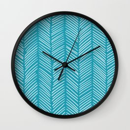 Coastal Blue Herringbone Wall Clock