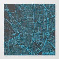 madrid Canvas Prints featuring Madrid by Map Map Maps