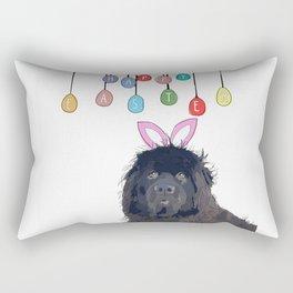 Happy Easter - Newfie Bunny Rectangular Pillow