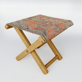 Vintage Woven Navy and Orange Folding Stool