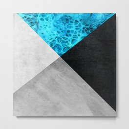 Beautiful abstract geometric art with blue detail with marble texture Metal Print