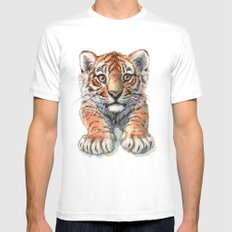 Playful Tiger Cub 907 White Mens Fitted Tee MEDIUM