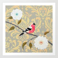 Bird - Song of the Finch Coral  Art Print