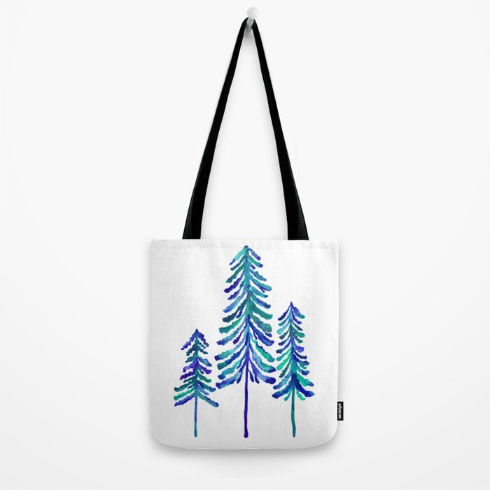 Pine Trees – Navy & Turquoise Palette Tote Bag