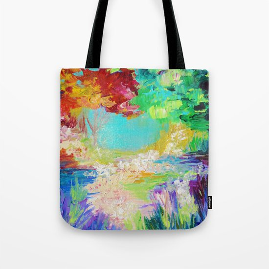 IN DREAMS - Gorgeous Bold Colors, Abstract Acrylic Idyllic Forest Landscape Secret Garden Painting Tote Bag