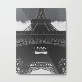 Eiffel Tower Paris France in Black and White Metal Print
