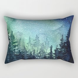 Galaxy Watercolor Aurora Borealis Painting Rectangular Pillow