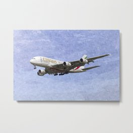 Emirates A380 Airbus Oil Metal Print