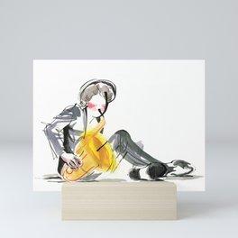 Saxophonist Musician Music Expressive Drawing Mini Art Print