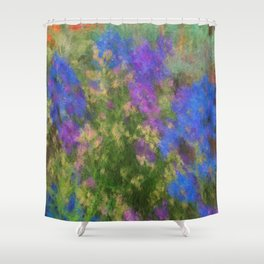Larkspur and Poppys Shower Curtain
