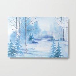 Winter Landscape Frozen Pond Metal Print