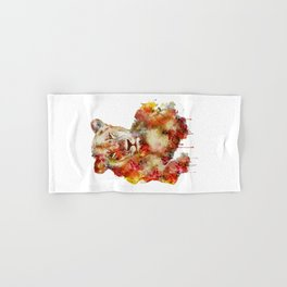 Resting Lioness Watercolor Painting Hand & Bath Towel
