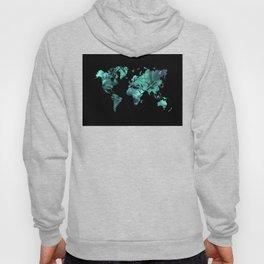 world map 77 blue Hoody
