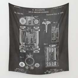 First Computer Patent - Technology Art - Black Chalkboard Wall Tapestry
