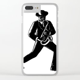 Jazz Musician Playing Sax Woodcut Clear iPhone Case