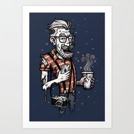 Zomb Hipster Art Print