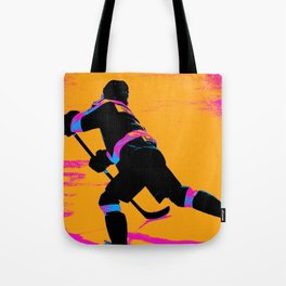 He Shoots! - Hockey Player Tote Bag
