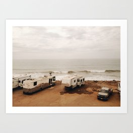 Campers on the beach Art Print