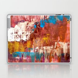 Desert Sun [5]: A bright, bold, colorful abstract piece in warm gold, red, yellow, purple and blue Laptop & iPad Skin