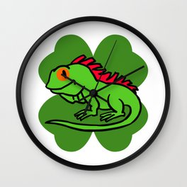 Iguana On 4 Leaf Clover- St. Patricks Day Funny Wall Clock