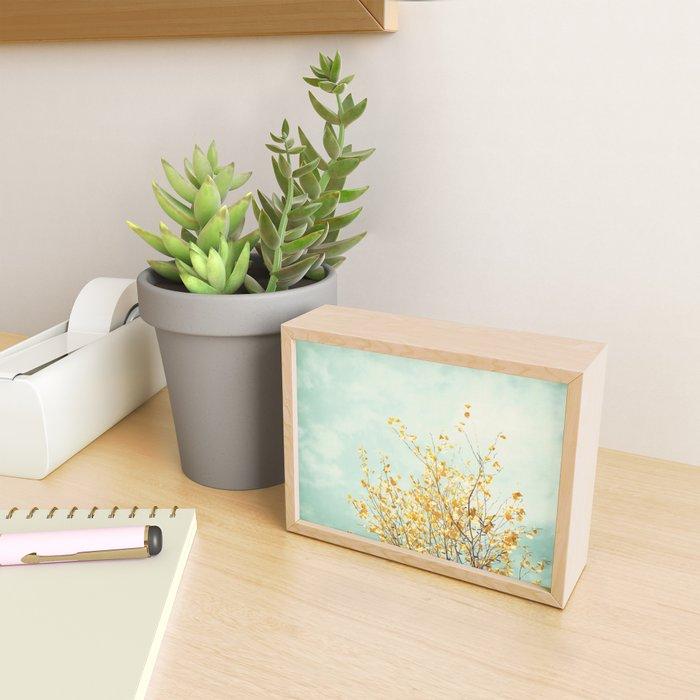 Yellow Tree Leaves Mint Sky Photography, Nature Turquoise Teal Gold Aqua Framed Mini Art Print