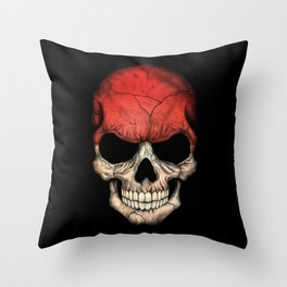 Dark Skull with Flag of Indonesia Throw Pillow