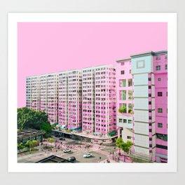 粉色大廈 /// Pink Blocks Art Print