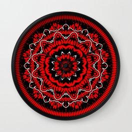 Mandala 009 Red White Black Wall Clock