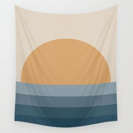 Minimal Retro Sunset / Sunrise - Ocean Blue Wall Tapestry